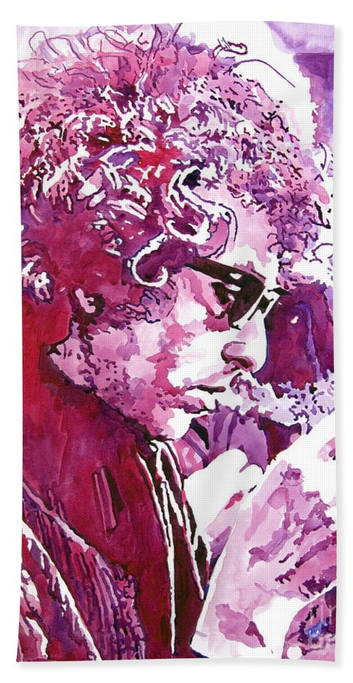 Bob Dylan Bath Towel featuring the painting Bob Dylan by David Lloyd Glover