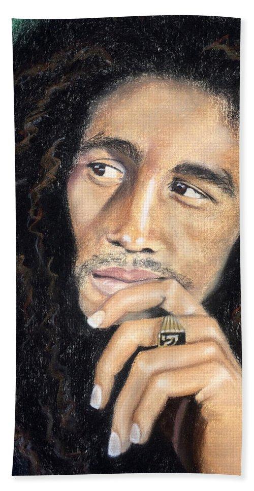 Bob Marley Bath Towel featuring the drawing Bob Marley by Ashley Kujan