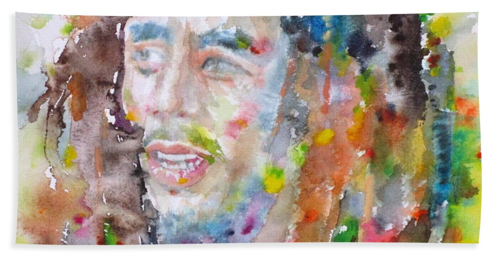 Bob Marley Hand Towel featuring the painting Bob Marley - Watercolor Portrait.17 by Fabrizio Cassetta