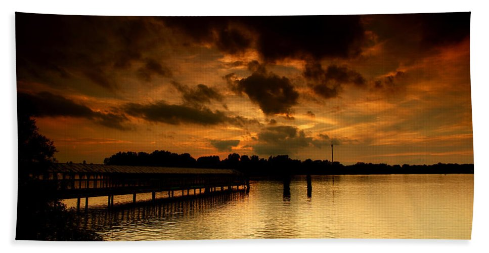 Sunset Bath Sheet featuring the photograph Boblo Dock by Cale Best