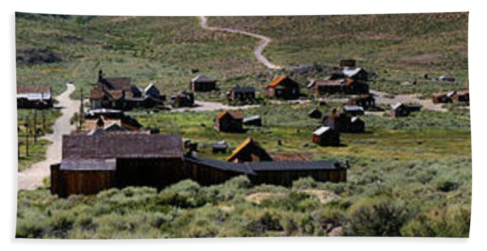 Bodie Ghost Town Panorama Hand Towel featuring the photograph Bodie Ghost Town Panorama by Chris Brannen