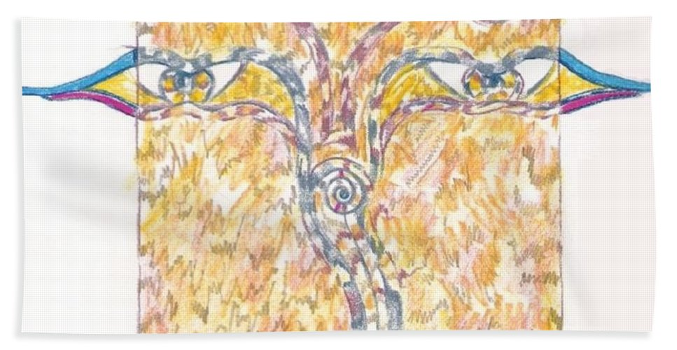 Abstract Hand Towel featuring the drawing Bodnath by Wayne Monninger
