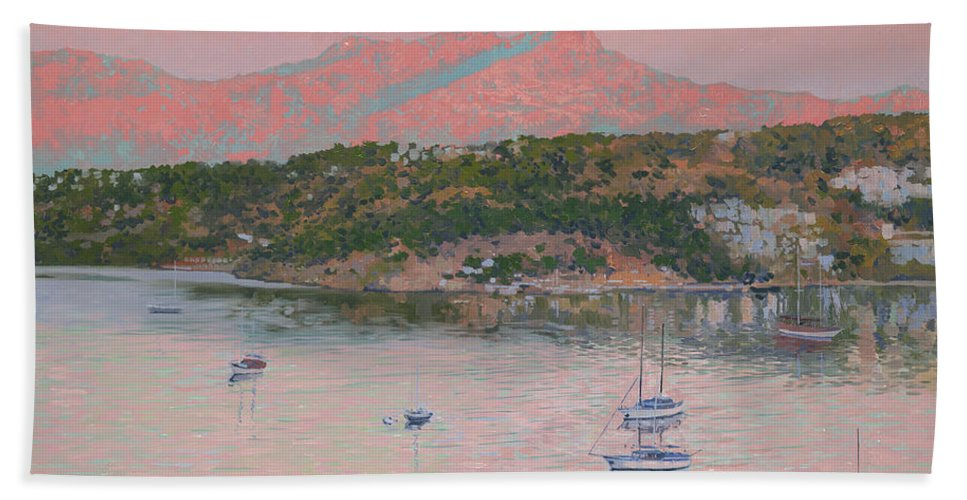 Bodrum Hand Towel featuring the painting Bodrum.pink Sunrise by Simon Kozhin