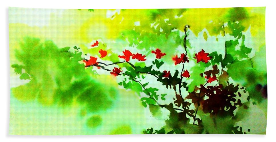 Floral Bath Sheet featuring the painting Boganwel by Anil Nene