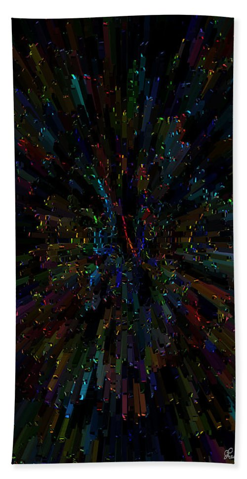 Abstract Color Colorful Colour Rainbow Explosion Expressive Bath Sheet featuring the digital art Boggled by Andrea Lawrence