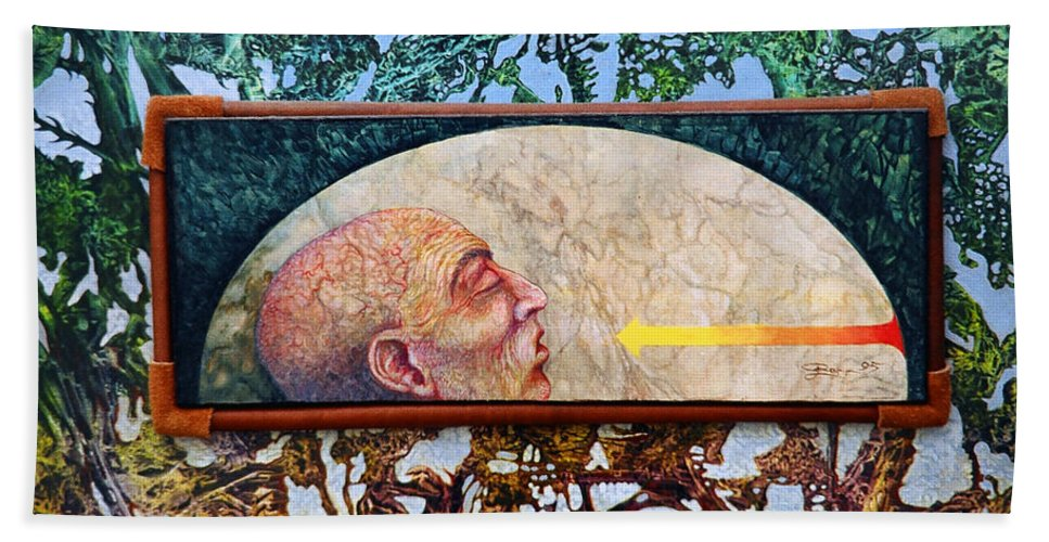 Surrealism Fantasy Fantastic Realism Decalcomania Otto Rapp The Mystic Hand Towel featuring the painting Bogomil Rising by Otto Rapp