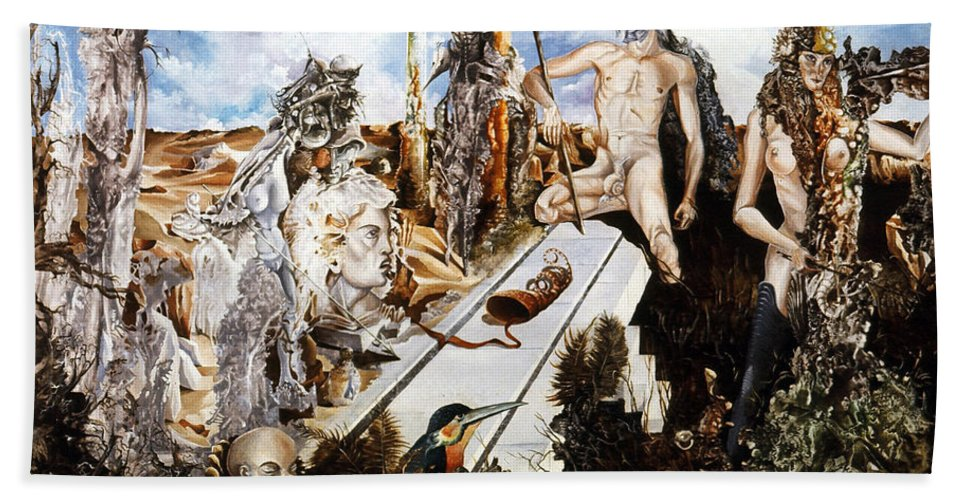 Surrealism Bath Sheet featuring the painting Bogomils Court by Otto Rapp