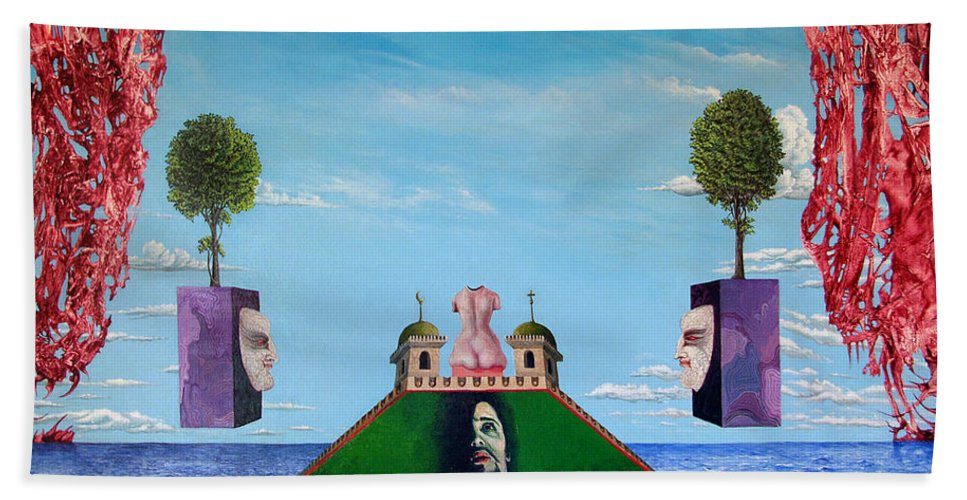 Painting Hand Towel featuring the painting Bogomils Monastic Retreat by Otto Rapp