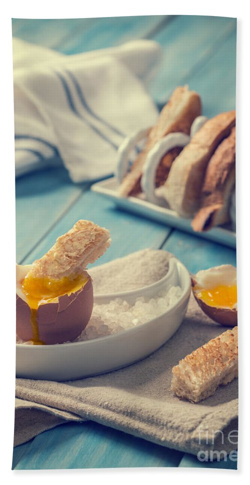 Soft Bath Towel featuring the photograph Boiled Egg by Amanda Elwell