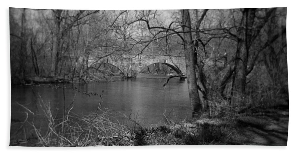 Photograph Bath Sheet featuring the photograph Boiling Springs Stone Bridge by Jean Macaluso