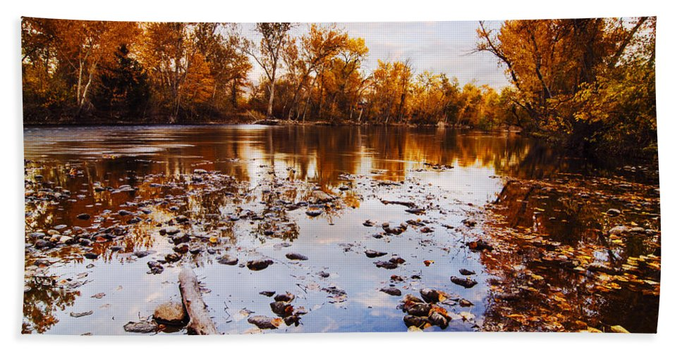 Boise River Hand Towel featuring the photograph Boise River Autumn Glory by Vishwanath Bhat