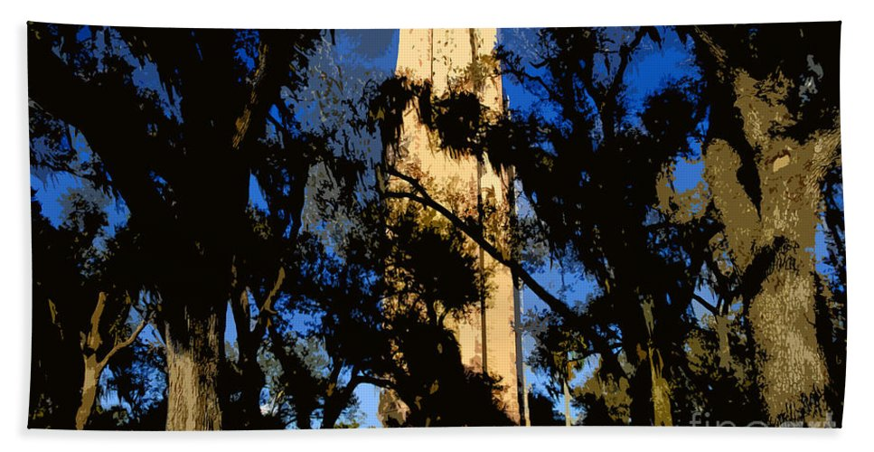 Bok Tower Hand Towel featuring the painting Bok Tower by David Lee Thompson