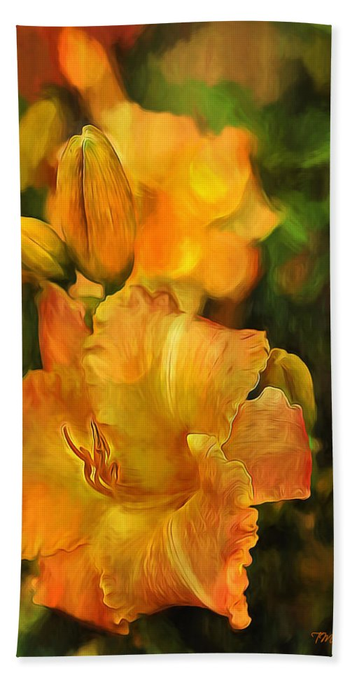 Lily Bath Sheet featuring the painting Bokah Lily by Theresa Campbell