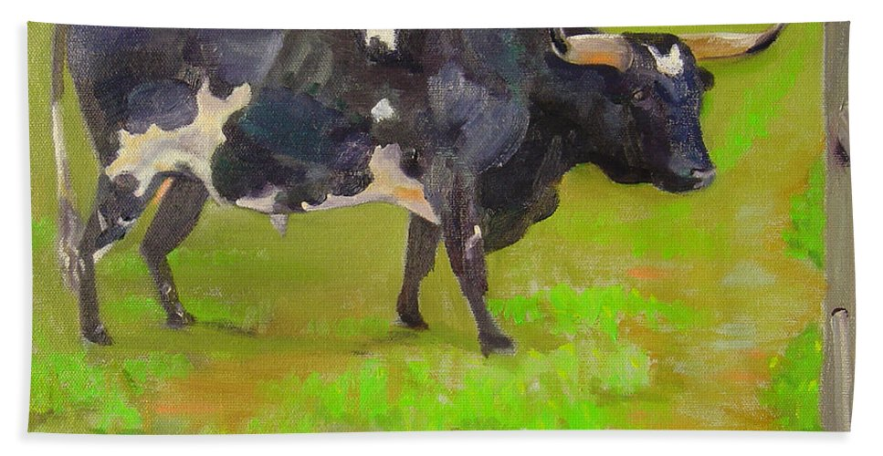 Southwest Bath Sheet featuring the painting Bold Beauty by Lilibeth Andre