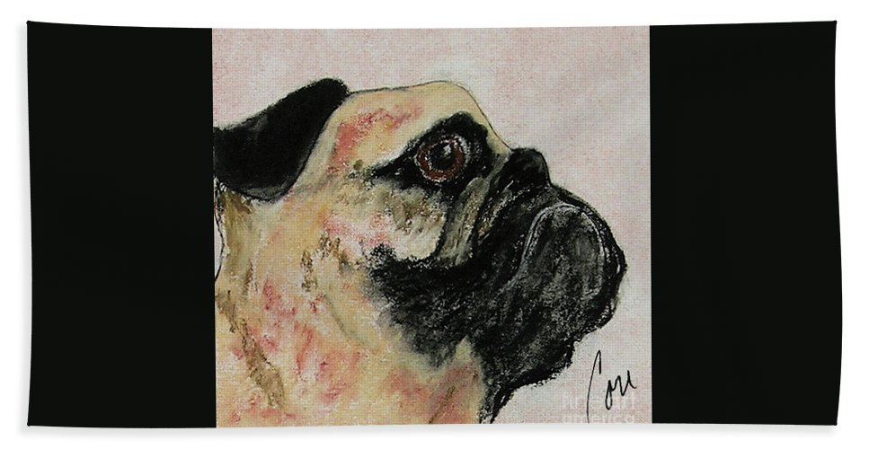 Pastel Hand Towel featuring the mixed media Bold Determination by Cori Solomon