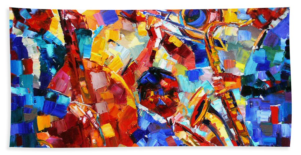 Jazz Hand Towel featuring the painting Bold Jazz Quartet by Debra Hurd