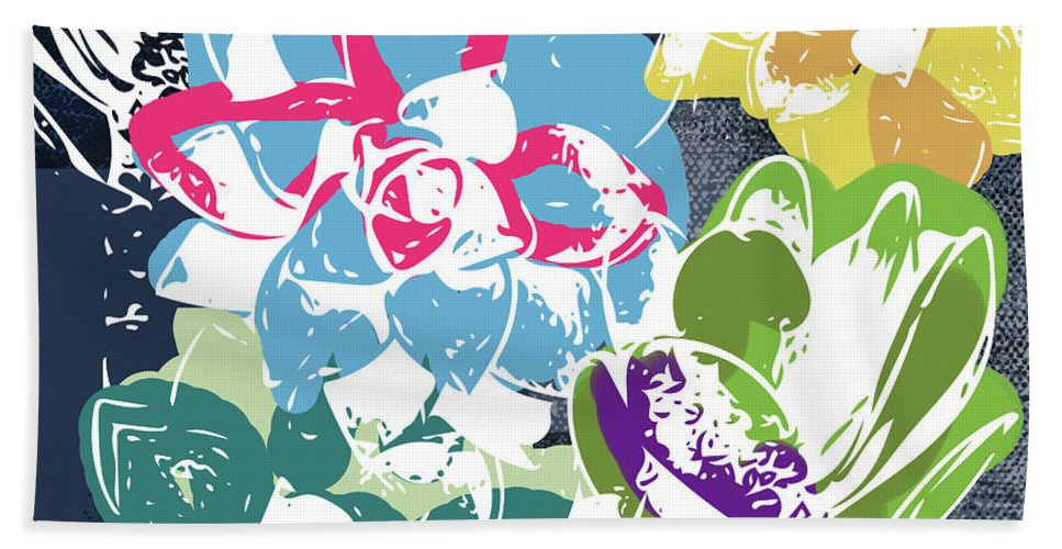 Succulents Bath Towel featuring the mixed media Bold Succulents 2- Art By Linda Woods by Linda Woods