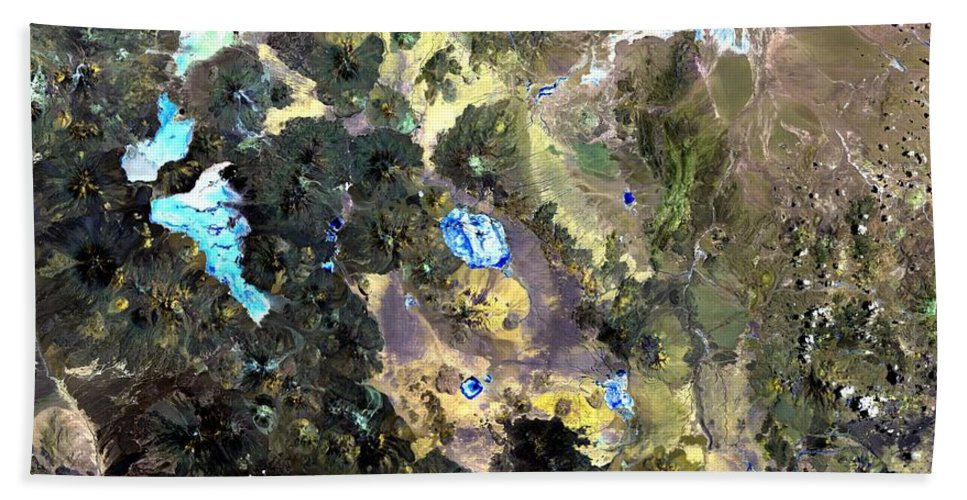 South America Bath Sheet featuring the photograph Bolivian Andes From Space by Leonardo Sandon