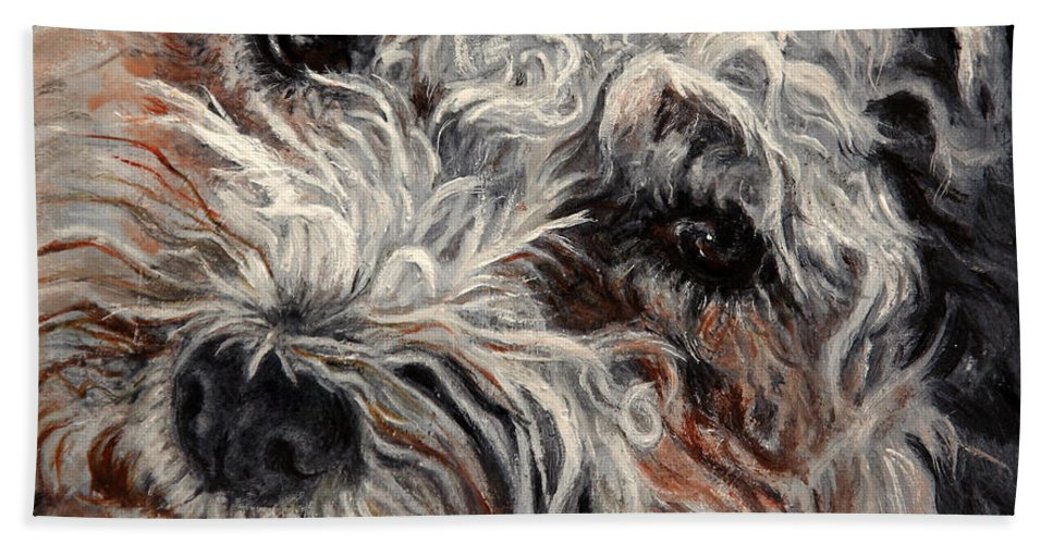 Pets Hand Towel featuring the painting Bolognese Breed by Portraits By NC