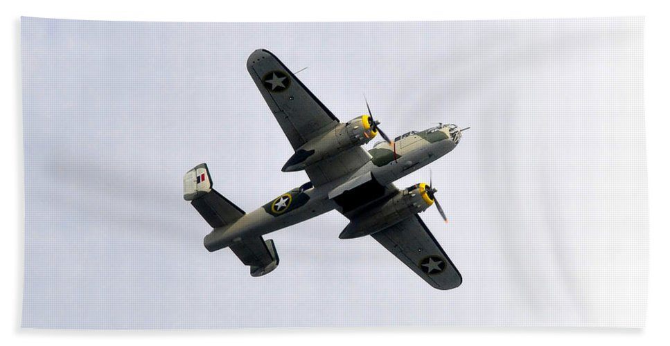 North American B 25 Mitchel Bomber Hand Towel featuring the photograph Bombs Away by David Lee Thompson