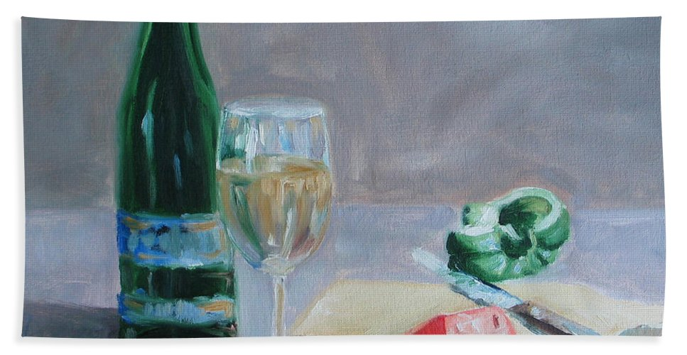Wine Bath Towel featuring the painting Bon Appetite by Paul Walsh
