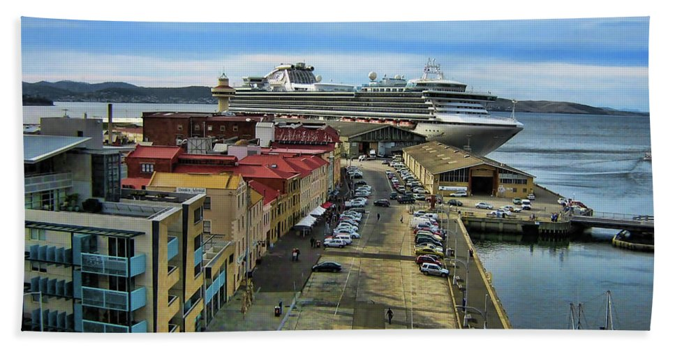 Ship Hand Towel featuring the photograph Bon Voyage by Douglas Barnard