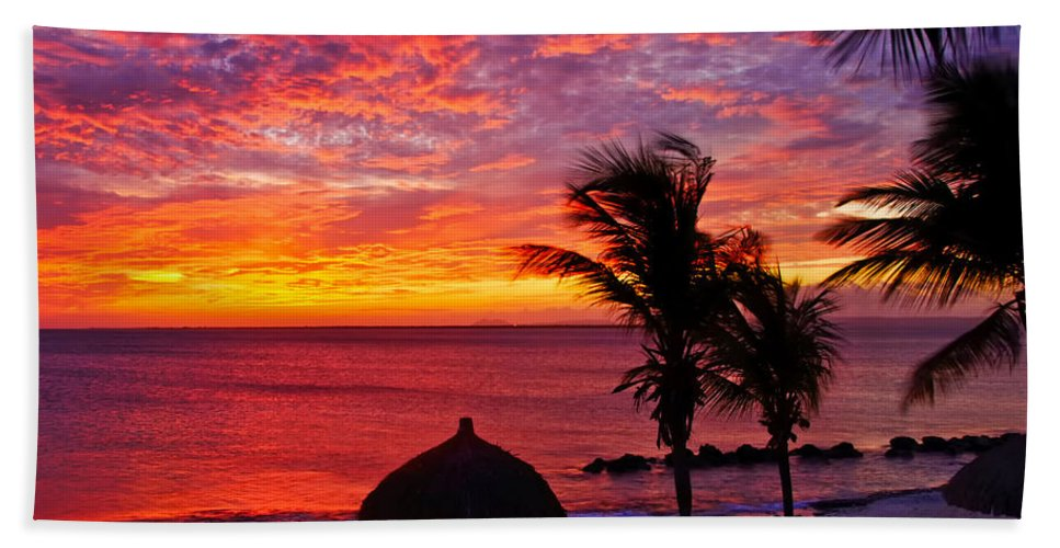 Sunset Hand Towel featuring the photograph Bonaire Sunset 1 by Stephen Anderson