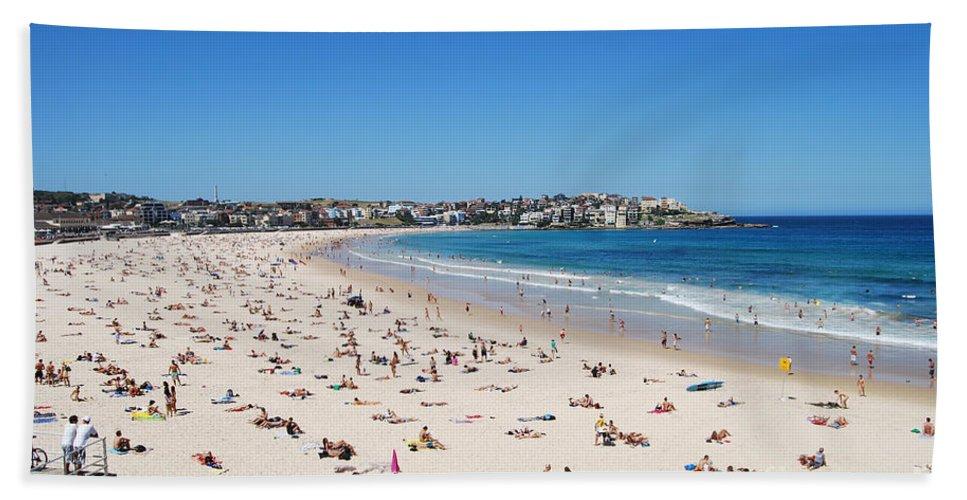 Bondi Beach Hand Towel featuring the photograph Bondi Beach In Sydney Australia by Catherine Sherman