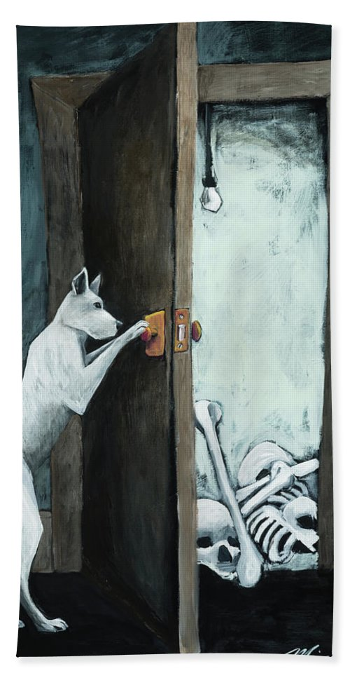 Dog Hand Towel featuring the painting Bone Collector by Shari Michaud