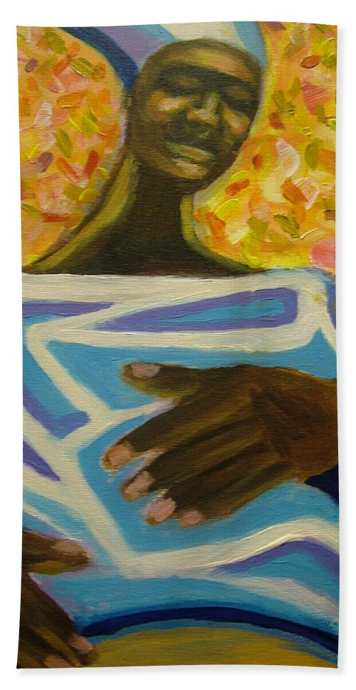 Painting Hand Towel featuring the painting Bongo Man II by Jan Gilmore