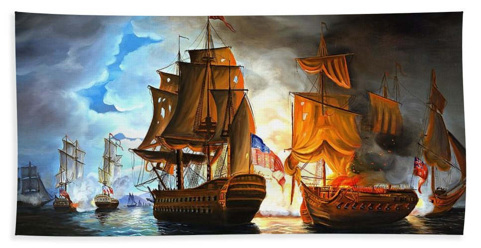 Naval Battle Hand Towel featuring the painting Bonhomme Richard Engaging The Serapis In Battle by Paul Walsh
