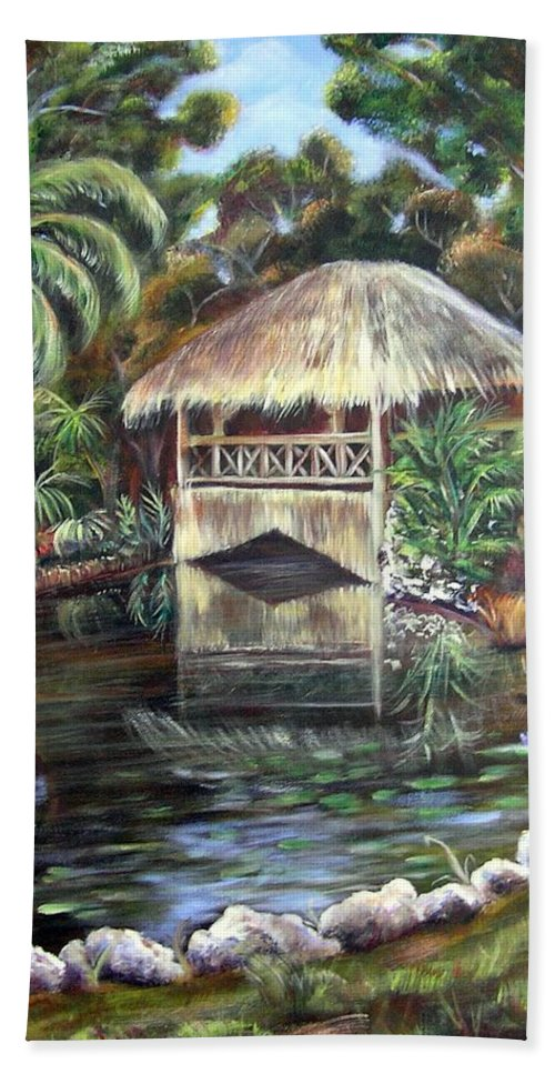Bonnet House Bath Sheet featuring the painting Bonnet House Chickee by Patricia Piffath