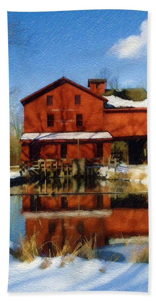 Bonneyville Mill Bath Towel featuring the photograph Bonneyville In Winter by Sandy MacGowan