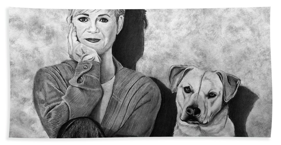 Bonnie Hunt And Charlie Hand Towel featuring the drawing Bonnie Hunt And Charlie by Peter Piatt
