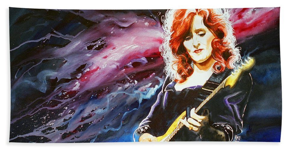 Women Bath Sheet featuring the painting Bonnie Raitt by Ken Meyer