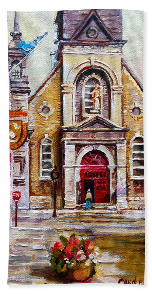 Montreal Churches Bath Towel featuring the painting Bonsecours Church by Carole Spandau