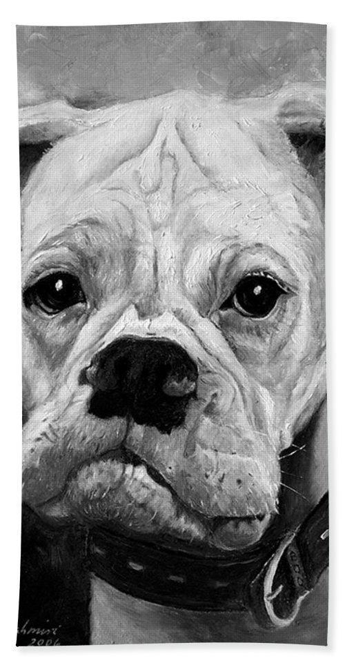 Boxer Hand Towel featuring the painting Boo The Boxer by Portraits By NC