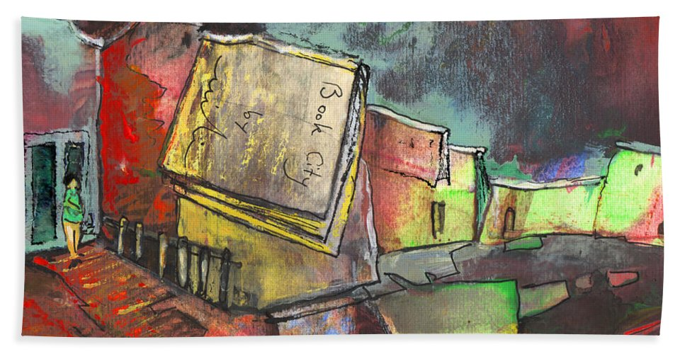 Books Hand Towel featuring the painting Book City by Miki De Goodaboom