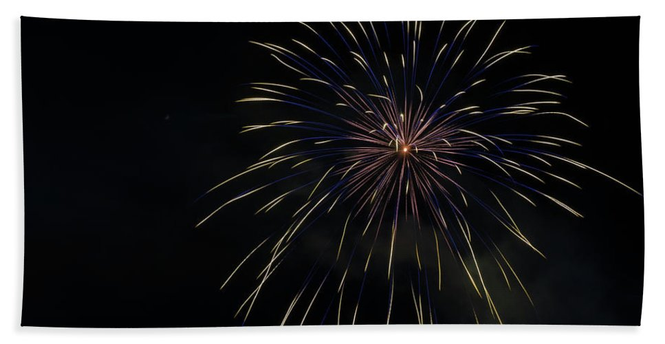 Fireworks Bath Sheet featuring the photograph Boom 13 by Andrew Zuber