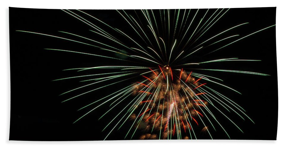 Fireworks Bath Sheet featuring the photograph Boom 16 by Andrew Zuber