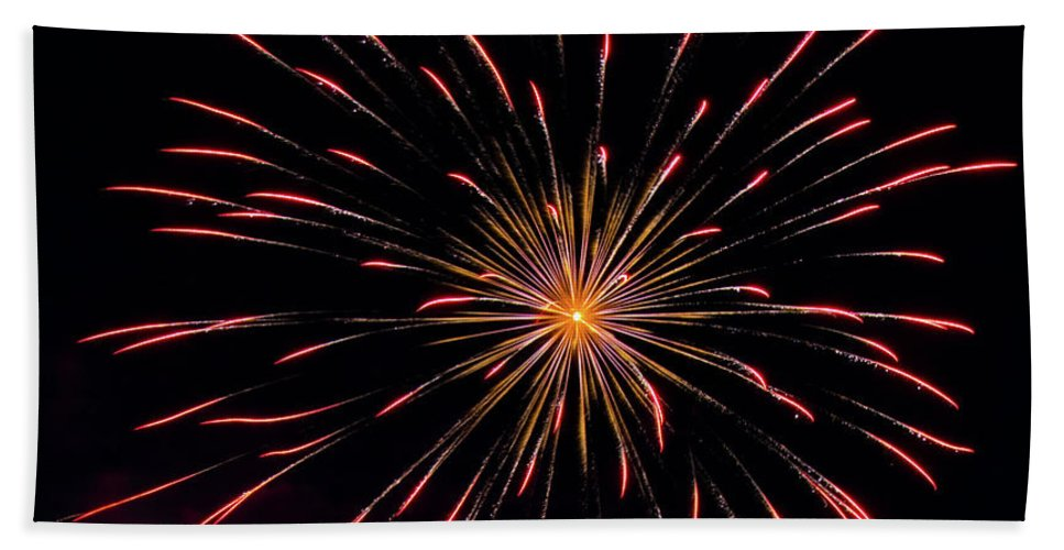 Fireworks Bath Sheet featuring the photograph Boom 18 by Andrew Zuber