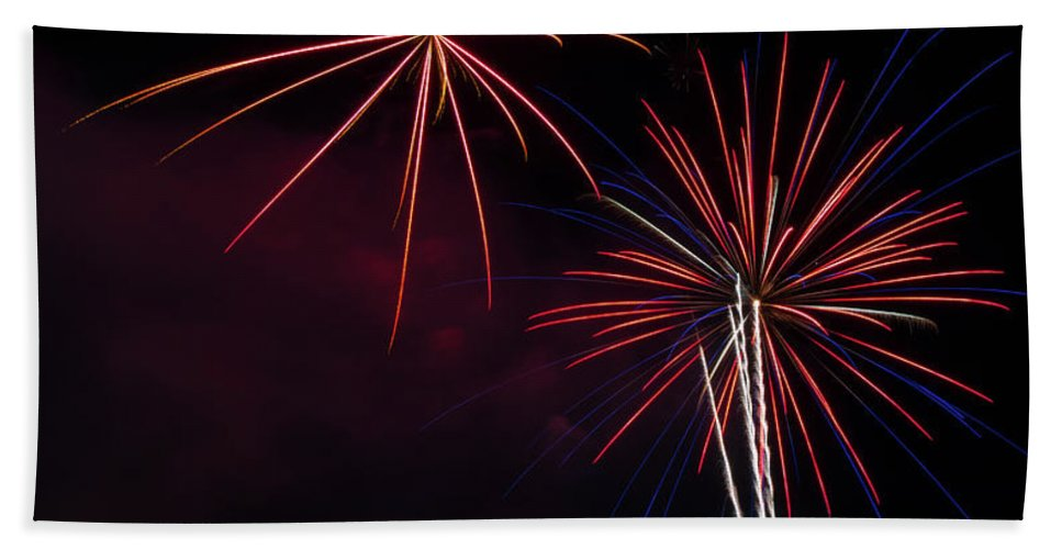 Fireworks Bath Sheet featuring the photograph Boom 9 by Andrew Zuber