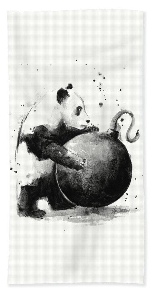 Panda Bath Sheet featuring the painting Boom Panda by Olga Shvartsur