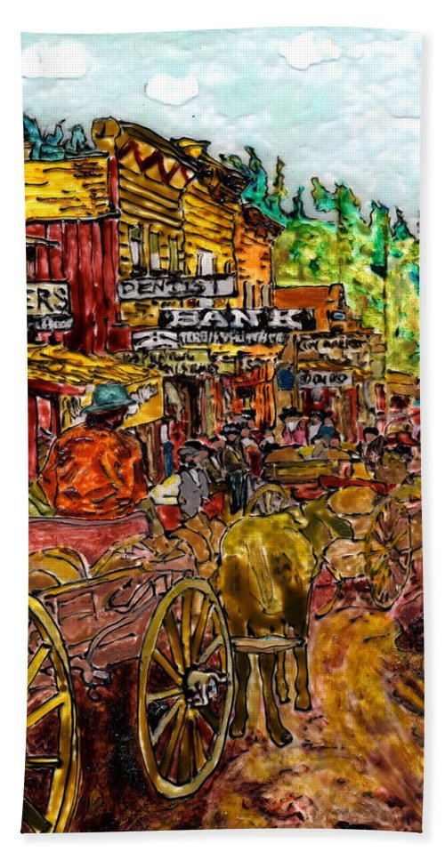 Western Hand Towel featuring the painting Boomtown 1876 by Phil Strang