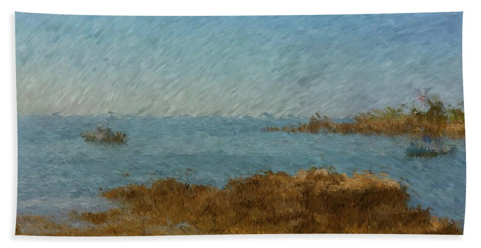 Boothbay Rocks Bath Sheet featuring the painting Boothbay Calm Day Ocean View by Viktor Arsenov