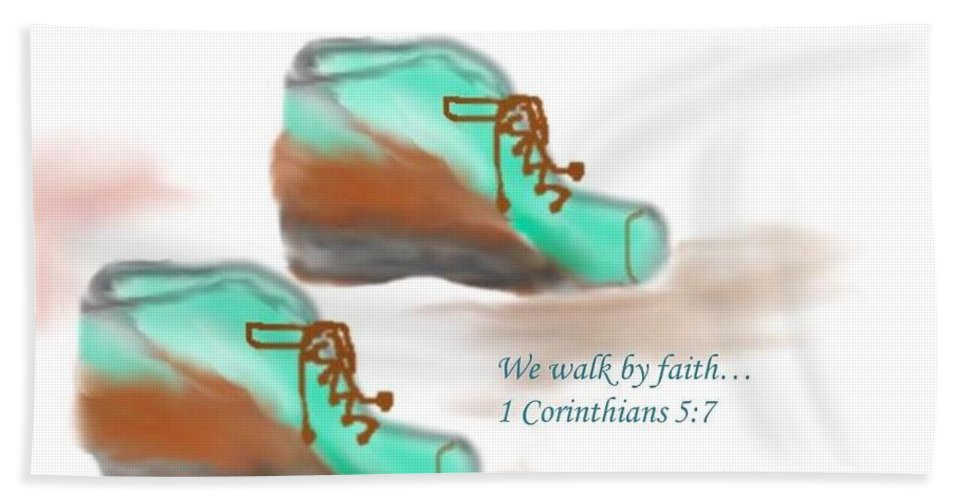 Boots Hand Towel featuring the digital art We Walk By Faith by Princess Carroll Ayo Durodola