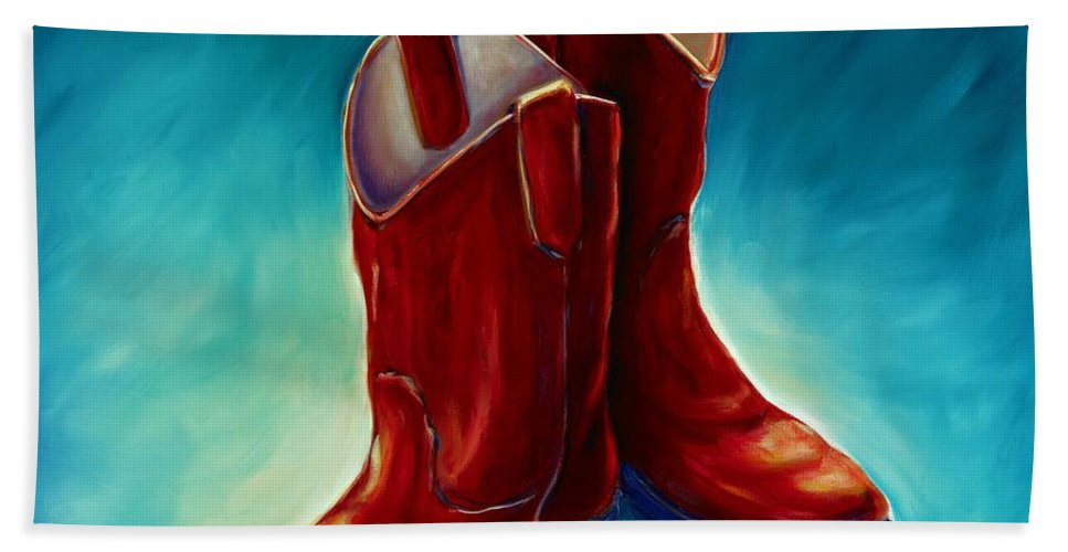 Boots Bath Towel featuring the painting Boots by Shannon Grissom