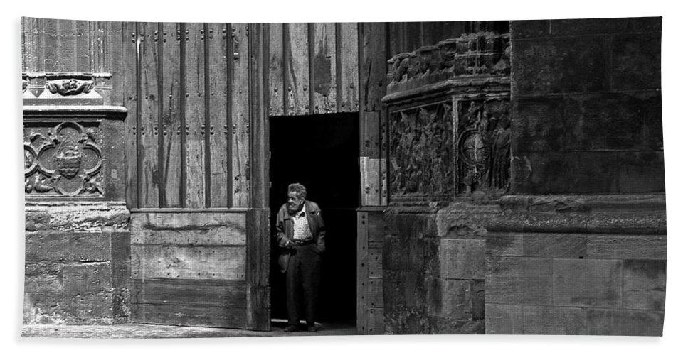 Bordeaux Hand Towel featuring the photograph Bordeaux Church Door by Thomas Marchessault