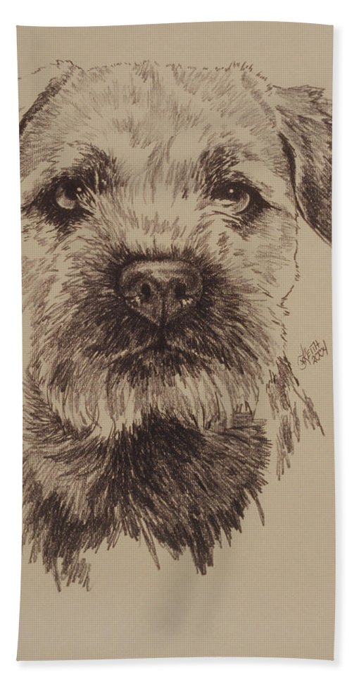 Art Bath Sheet featuring the drawing Border Terrier by Barbara Keith