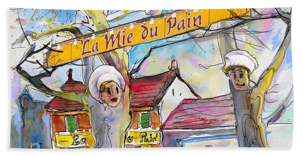 Pyrenees Bath Sheet featuring the painting Borderes Sur Echez 01 by Miki De Goodaboom